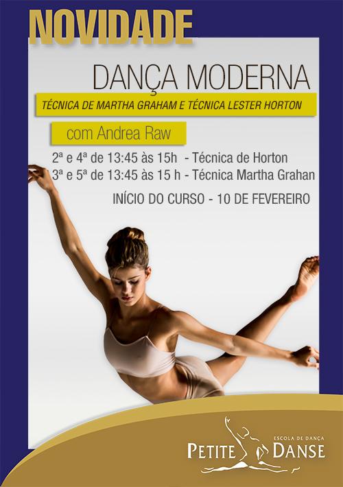 Aula de Dança Moderna com a professora Andrea Raw na unidade Tijuca.